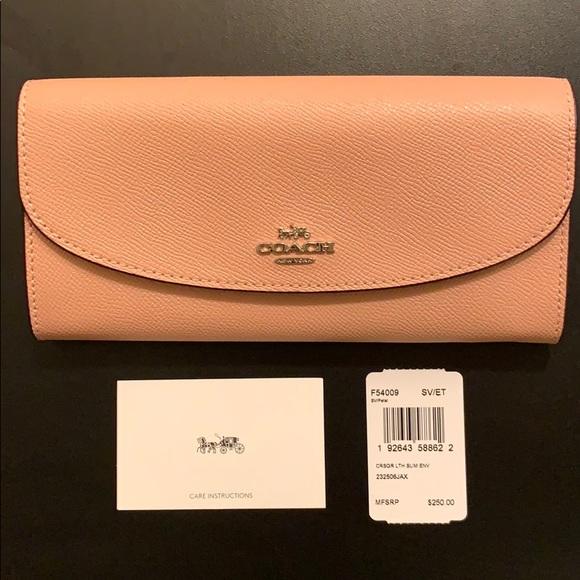 Coach Petal Pink Crossgrain Leather Slim Envelope Wallet F54009 New NWT $250